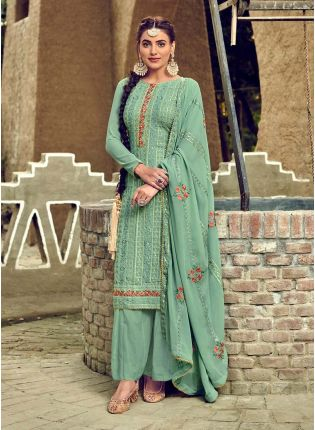 Glamorous Turquoise Color Georgette Base Heavy Work Designer Punjabi Palazzo Suit