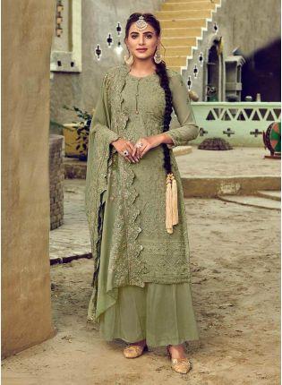 Dusty Green Color Georgette Base Designer Look Punjabi Palazzo Suit