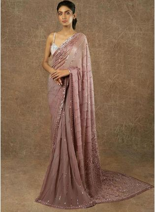 Iconic Lilac Sequin And Resham Embroidered Party Wear Saree