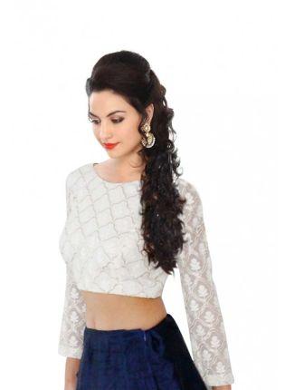 Trendy White Georgette Cotton Thread & Sequins Chain Blouse