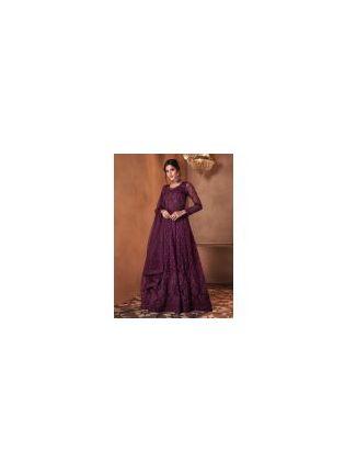 Soft Net Base Purple Color Full Sleeves Stone Work Designer Gown