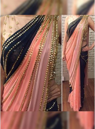 Top Peach Hand Work Sequin Half N Half Bollywood Party Wear Saree