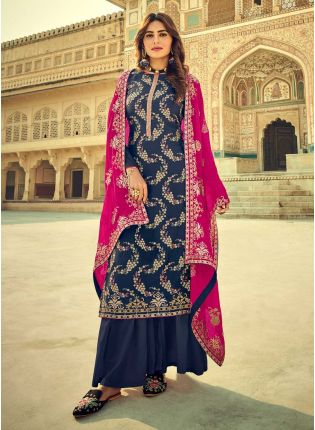 Good-Looking Navy Blue Color With Embroidery work Salwar Suit