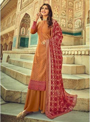 Dainty Brown Color With Embroidery Work Salwar Suit
