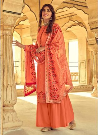 Appealing Peach Color With Embroidery Work Salwar Kameez