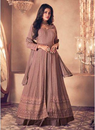 Mauve Pink Color Sequins Work Georgette Base Slit-Cut Pakistani Suit