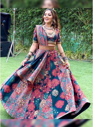Trendy Multi Color Digital Print Satin Panelled Bollywood Lehenga Choli