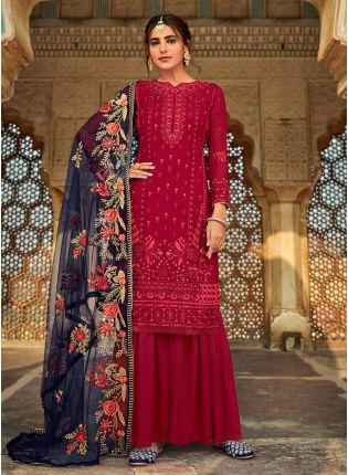 Maroon Color Georgette Fabric Dori Work Sharara Suit With Dupatta