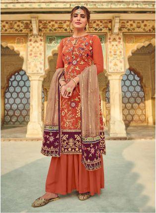 Orange Color Georgette Fabric Sequined Work Sharara Salwar Suit