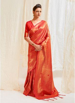 Dark Orange Color Silk Base Silk Weaving Work Wedding Wear Designer Saree
