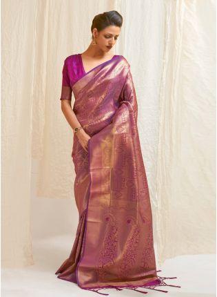 Charming Look Purple Color Silk Base Silk Weaving Work Designer Saree