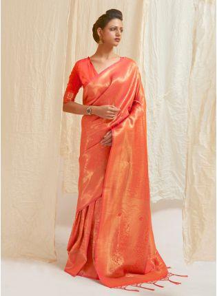 Glam Look Orange Color Silk Base Silk Weaving Work Designer Saree With Same Blouse