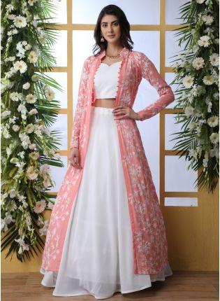 Best Charming Swan White Georgette Wedding Special Designer Lehenga Choli
