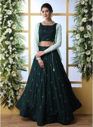 Trendy Wonderful Dark Green Cotton Base Jacket Style Designer Lehenga Choli