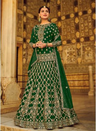 Terrific Green Color With Georgette Fabric Lehenga Suit