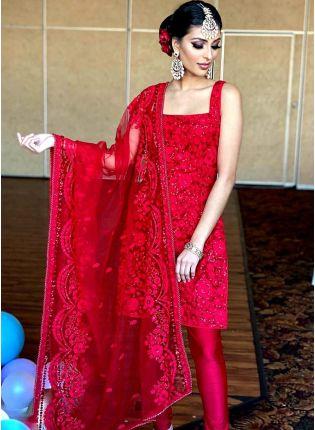 Affordable Red Resham Soft Net Wedding Pant Style Churidar Suit