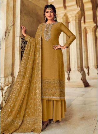 Gorgeous Look Dark Yellow Color Art Silk Base Panjabi Style Designer Palazzo Suit