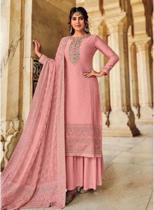 Peach Pink Color Art Silk Base Heavy Worked Beautiful Designer Palazzo Suit