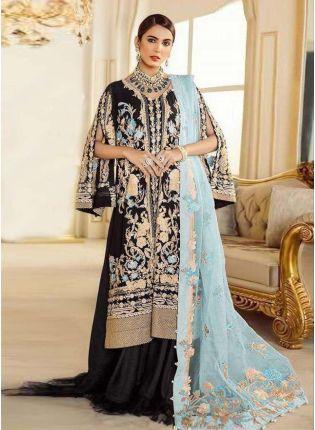 Black Color Georgette Base Resham And Sequins Work Pakistani Salwar Kameez