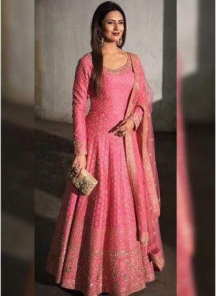 Pink Zari Sequins Raw Silk Festive Floor Legth Anarkali Suit