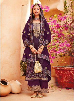 Admirable Purple Color Satin Base Zari Work Printed Palazzo Salwar Suit