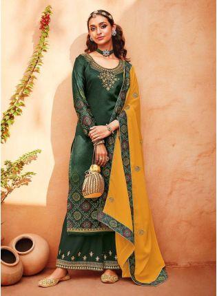 Dori Work Dark Green Color Satin Base Printed Palazzo Salwar Kameez