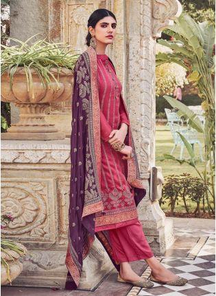 Magenta Pink Color Art Silk Base Heavy Work Base Wedding Wear Salwar Suit