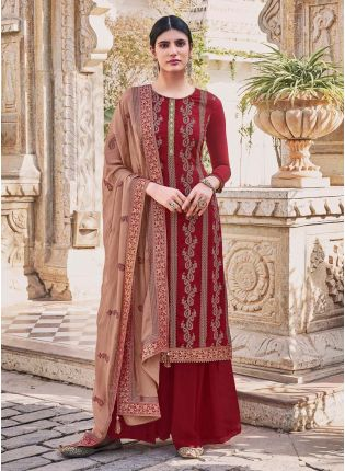 Wedding Wear Dark Red Color Heavy Work Designer Palazzo Suit