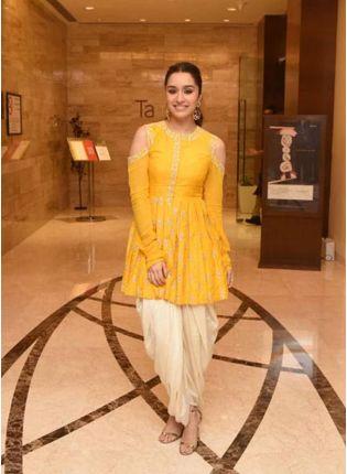Top Yellow Zari Georgette Festive Dhoti Style Salwar Suit