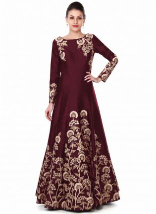 Iconic Maroon Gown Adorn In Zari And Sequin In Floral Embroidery