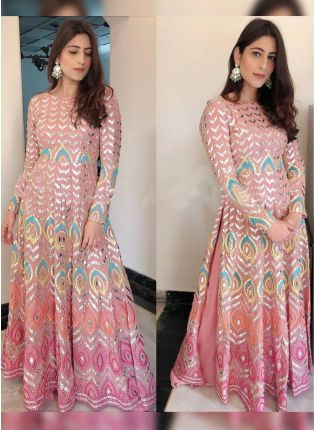 Pink Color Gotta Work Base Ceremonial Straight Palazzo Suit