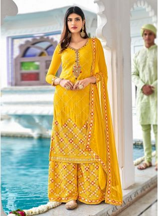 Bright Yellow Color Georgette Base Heavy Work Base Sharara Suit