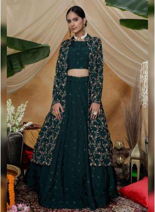 Shop Remarkable Turtle Green Silk Base Sequin And Resham Work Lehenga Choli