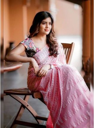 Purchase Pink Resham Georgette Embroidered Casual Saree