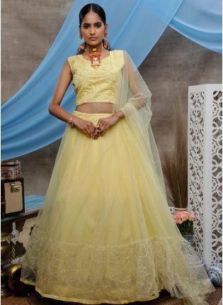 girl in Yellow Resham Sequins Lehenga Choli