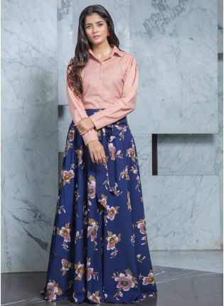 girl in Floral Printed Cotton Flared Lehenga
