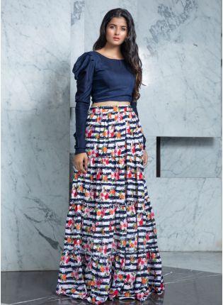 girl in Multi-Color Flared Rayon Lehenga Choli