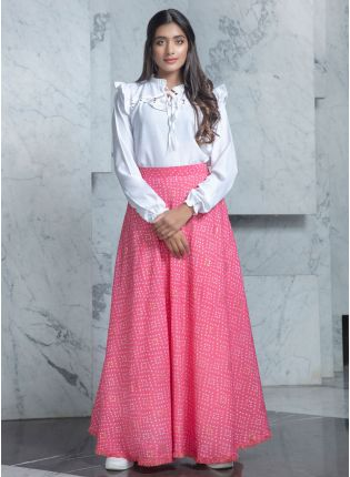 girl in Rich Candy Pink and White Combination Lehenga