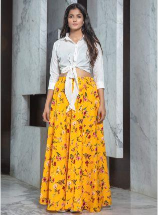 girl in Sunshine Yellow Printed Flared Lehenga Choli Set