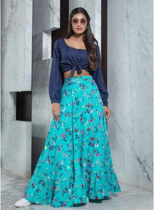 girl in Sea Blue Combination Printed Flared Lehenga Choli