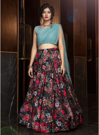 girl in Alluring Black Lehenga Choli Set