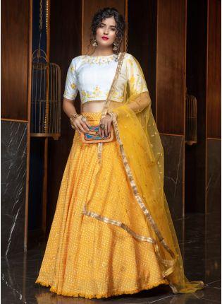 girl in Glowing Yellow Lehenga Choli Set