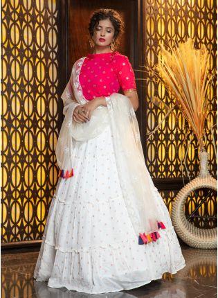girl in Magical White Cotton Silk Weave Lehenga Choli