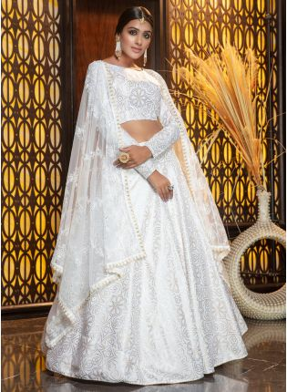 girl in Lustrous White Foil Printed Flared Lehenga Choli