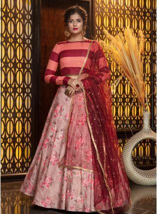 girl in Mesmerizing Pink Rayon Sequined Lehenga Choli