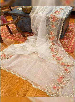 Iconic White Zari Sequin Organza Embroidered Saree