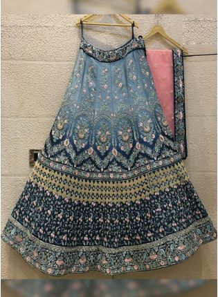 Purchase Blue Zari Resham And Silk Flared Lehenga Choli