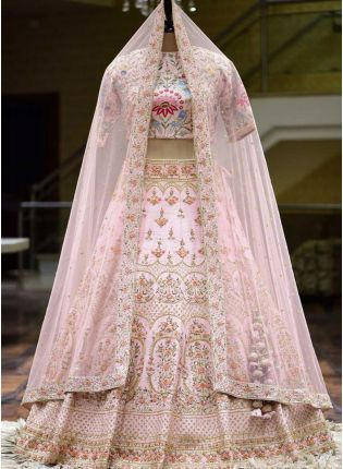 Splendid Baby Pink Zari And Silk Fabric Flared Lehenga Choli