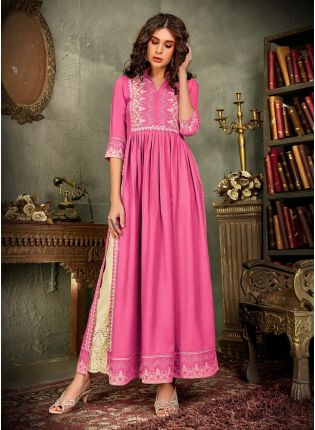Hot Pink Color Cotton Fabric Lucknowi Work Printed Palazzo Suit
