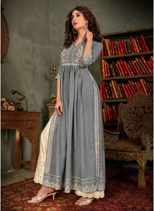 Light Grey Color Cotton Base Printed Palazzo Salwar Suit With Resham Work